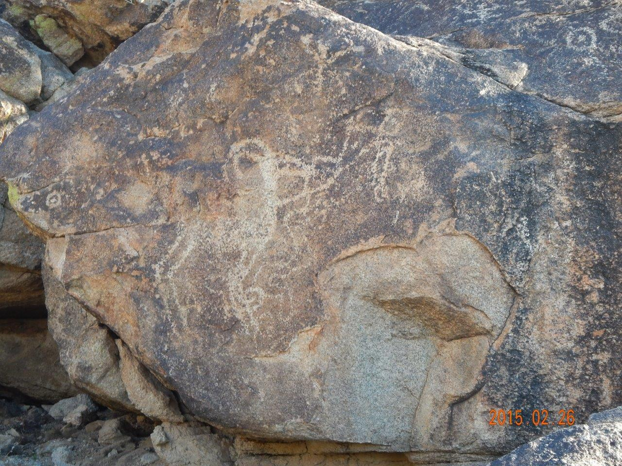 Pictographs on rocks at Telegraph Pass
